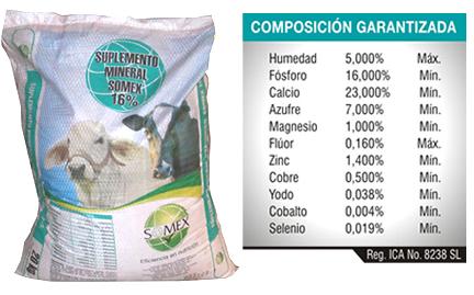 Suplemento Mineral Somex 16%