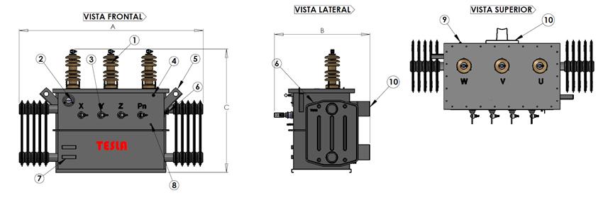 Comprar Transformadores Trifásico Tipo Aceite Convencional Serie 15 - 15 a 112.5/1.2 KV