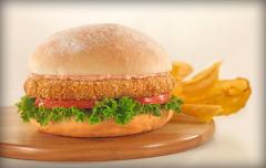 Hamburguesa de pollo apanada