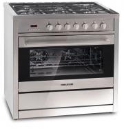 Cocina autosoportada a gas en acero inoxidable con horno eléctrico y calentador de platos  SI 9490