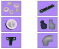 Piping fashion parts, pipes, shaped parts, plastic pipe fittings