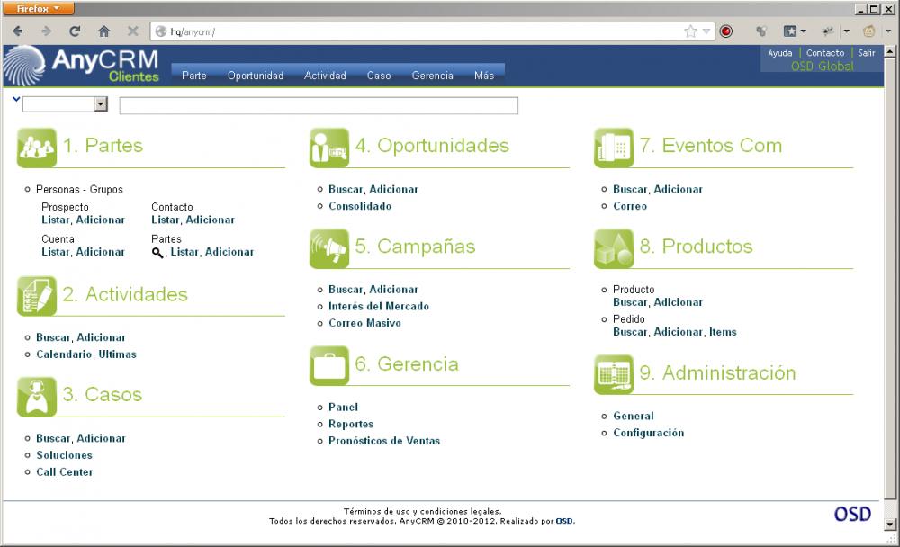 Pedido OSD AnyCRM - Gestión de Clientes CRM Medellín, Colombia