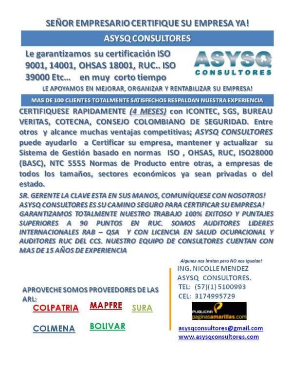 Pedido CONSULTORES ASESORES INTEGRADOS INTEGRALES DE GESTION HSEQ COLOMBIA - BOGOTA