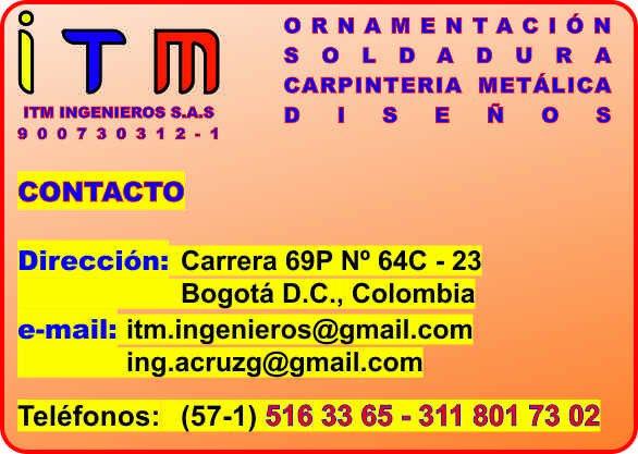 Pedido CARPINTERÍA METÁLICA, ORNAMENTACIÓN, SOLDADURA, ESTRUCTURA METÁLICA, BOGOTÁ D.C.