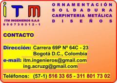 CARPINTERÍA METÁLICA, ORNAMENTACIÓN, SOLDADURA, ESTRUCTURA METÁLICA, BOGOTÁ D.C.